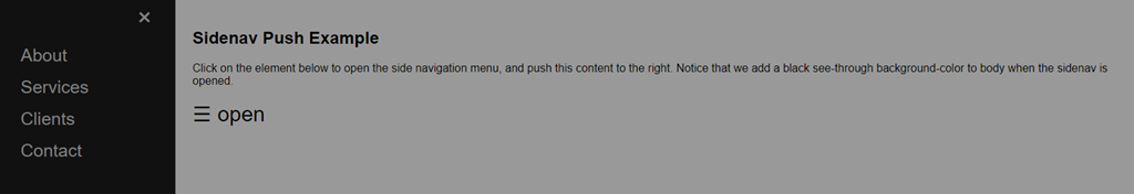 Sidenav Push Content w/ opacity