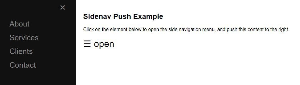 Sidenav Push Content
